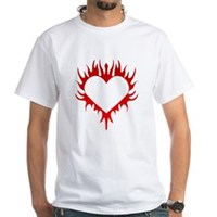 Flaming Heart White T-Shirt