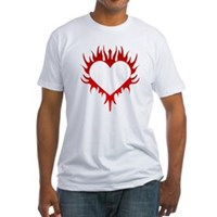 Flaming Heart Fitted T-Shirt