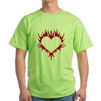 Flaming Heart Green T-Shirt