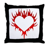 Flaming Heart Throw Pillow