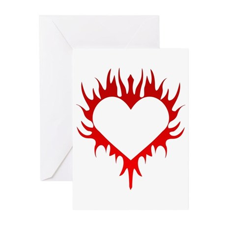 Flaming Heart Greeting Cards (Pk of 10)