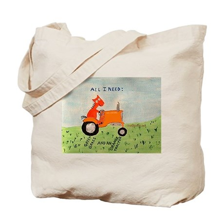 Orange Tractor Tote Bag