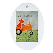 Orange Tractor Oval Ornament