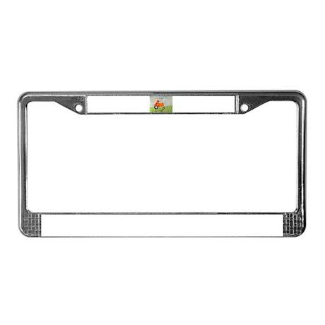 Orange Tractor License Plate Frame
