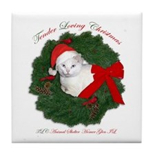 Shorty the cat in wreath Tile Coaster