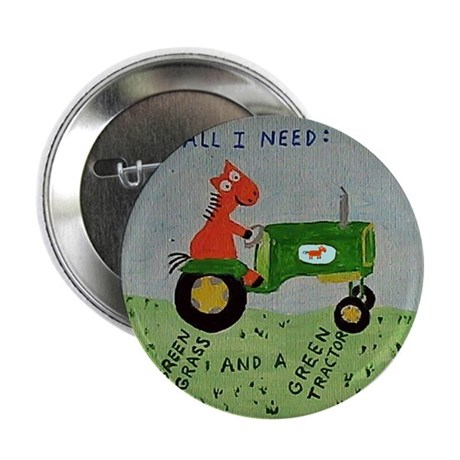 """Green Tractor 2.25"""" Button"""
