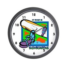I'd Rather Be Snowboarding Wall Clock