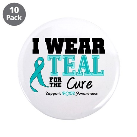 "IWearTeal For The Cure 3.5"" Button (10 pack)"