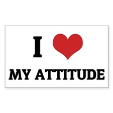 I Love My Attitude Rectangle Decal