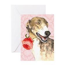 Greyhound Rose Greeting Card