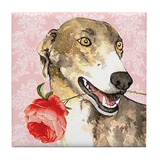 Greyhound Rose Tile Coaster