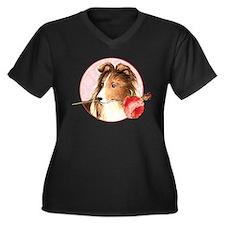 Sheltie Rose Women's Plus Size V-Neck Dark T-Shirt