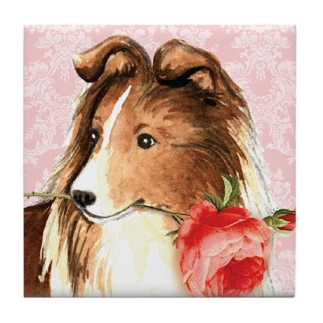 Sheltie Rose Tile Coaster