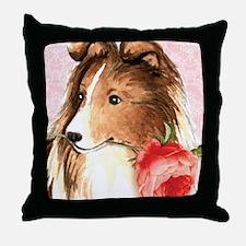 Sheltie Rose Throw Pillow