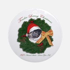 Stinky the rat terrier in wreath Ornament (Round)