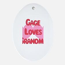 Gage Loves Grandma Oval Ornament