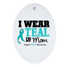 IWearTeal Mom Oval Ornament