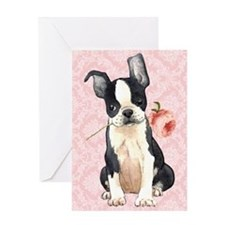 Boston Terrier Rose Greeting Card
