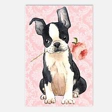 Boston Terrier Rose Postcards (Package of 8)