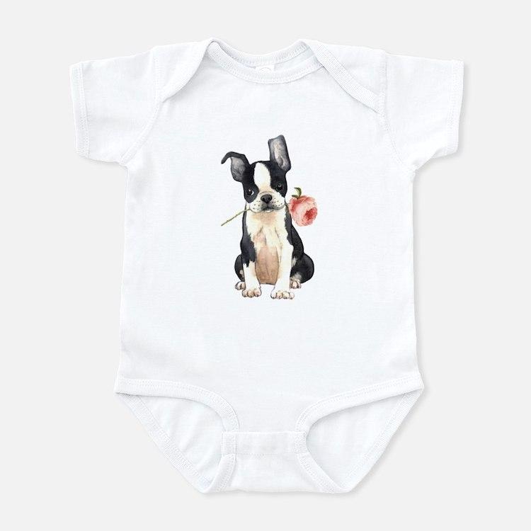 Boston Terrier Rose Infant Bodysuit