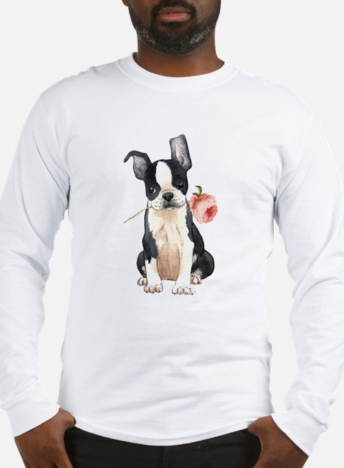 Boston Terrier Rose Long Sleeve T-Shirt