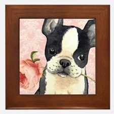 Boston Terrier Rose Framed Tile
