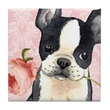 Boston Terrier Rose Tile Coaster