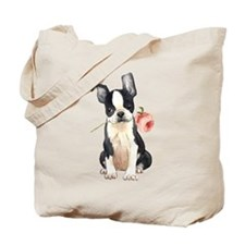 Boston Terrier Rose Tote Bag