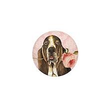 Basset Hound Rose Mini Button