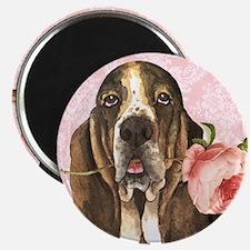 Basset Hound Rose Magnet