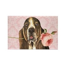 Basset Hound Rose Rectangle Magnet