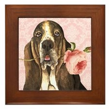 Basset Hound Rose Framed Tile