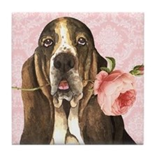 Basset Hound Rose Tile Coaster