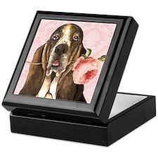 Basset Hound Rose Keepsake Box