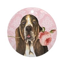 Basset Hound Rose Ornament (Round)
