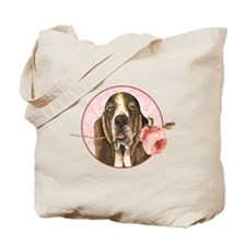 Basset Hound Rose Tote Bag