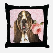 Basset Hound Rose Throw Pillow