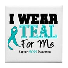 I Wear Teal For Me Tile Coaster