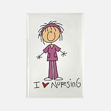 I Love Nursing Rectangle Magnet (100 pack)