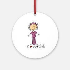 I Love Nursing Ornament (Round)