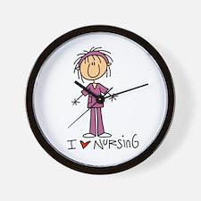 I Love Nursing Wall Clock