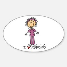 I Love Nursing Oval Sticker (10 pk)