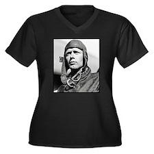 "Faces ""Lindbergh"" Women's Plus Size V-Neck Dark T-"