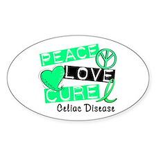 PEACE LOVE CURE Celiac Disease (L1) Oval Decal