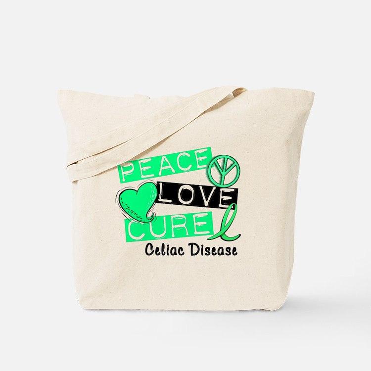 PEACE LOVE CURE Celiac Disease (L1) Tote Bag