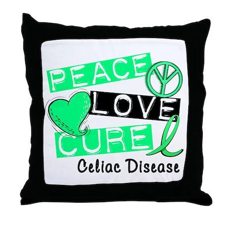 PEACE LOVE CURE Celiac Disease (L1) Throw Pillow
