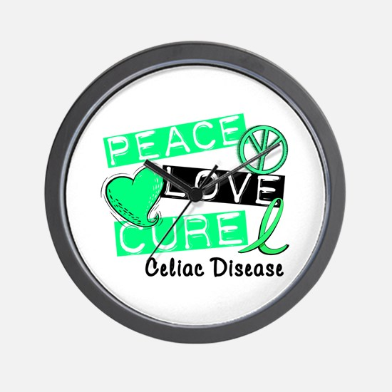 PEACE LOVE CURE Celiac Disease (L1) Wall Clock