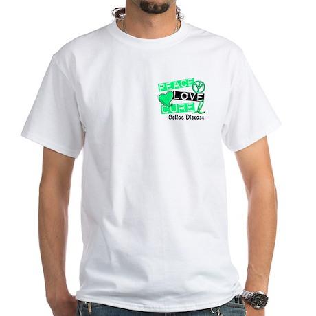 PEACE LOVE CURE Celiac Disease (L1) White T-Shirt
