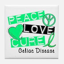 PEACE LOVE CURE Celiac Disease (L1) Tile Coaster