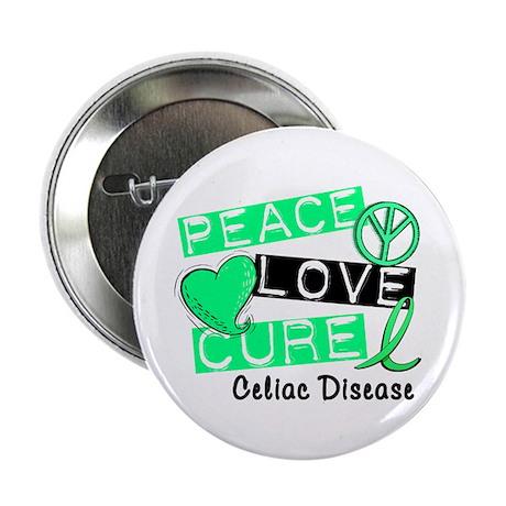 """PEACE LOVE CURE Celiac Disease (L1) 2.25"""" Button ("""